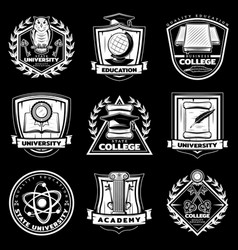 vintage university and college labels set vector image