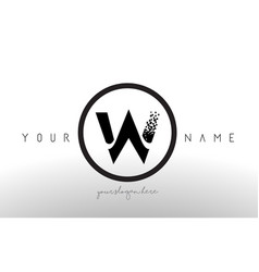 W logo letter with digital pixel tech design vector