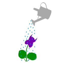Watering pot and flower vector image