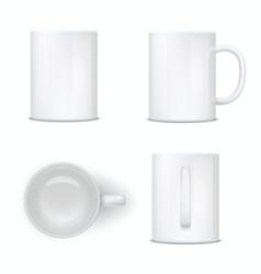 White mug empty cup ceramic tableware mockup vector