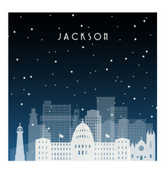 winter night in jackson night city in flat style vector image