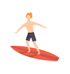 young man on a surfboard surfer guy character vector image