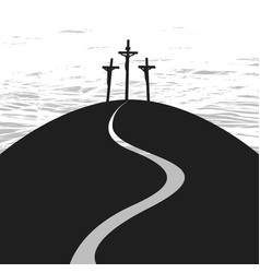 banner on good friday with three crosses vector image vector image