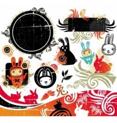cartoon rabbits vector image vector image
