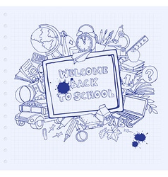 Notebook blackboard frame greeting card welcome vector image