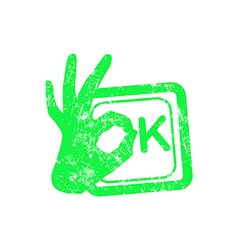 Ok green grunge rubber stamp with the hand sign vector image