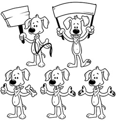 Set of cartoon dog Outline on a white background vector image vector image