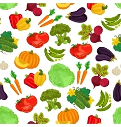 Vegetables seamless vegan pattern of flat icons vector image vector image