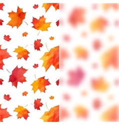 Watercolor painted maple leaves background with vector image