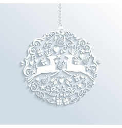 White merry christmas bauble ornament vector