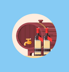 Wine barrel with bottle of wine isolated in circle vector