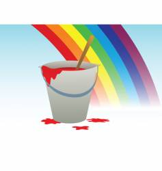 buckets with paint and rainbow vector image