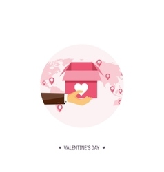 Flat background with box and vector image