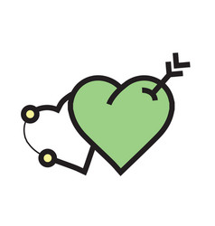 Arrow on two heart icon green vector