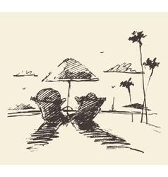 Couple tropical beach drawn sketch vector image