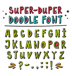 Doodle font with funny 3d effect vector image