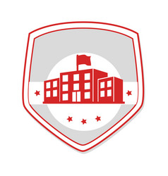 Monochrome shield with high school structure vector
