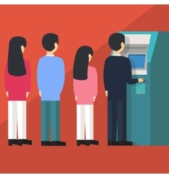people waiting in line queue to draw money from vector image vector image