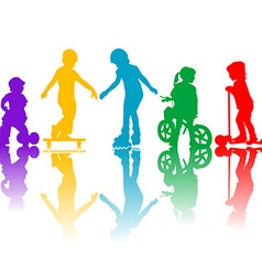 Colored silhouettes of active kids vector