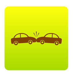 crashed cars sign brown icon at green vector image vector image