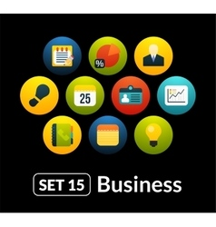Flat icons set 15 - businnes collection vector