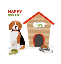 Happy dog life poster design vector