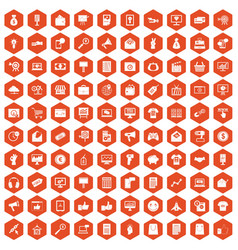 100 internet marketing icons hexagon orange vector image