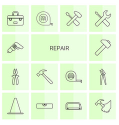 14 repair icons vector image