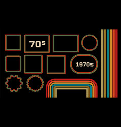 1970s style museum picture frames set vector