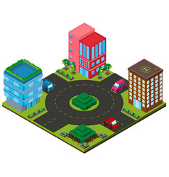 3d design for city with buildings and roads vector image
