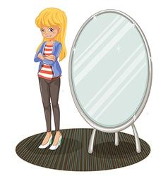A girl beside a mirror vector image