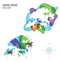 Abstract color map of Hong Kong vector image