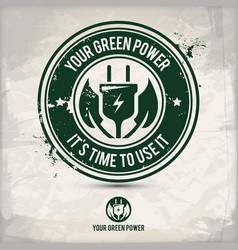 alternative green power stamp vector image