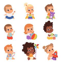Baby playing cute little kids newborn 1 years vector