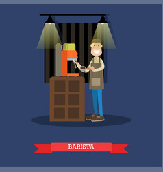 barista making coffee in flat vector image