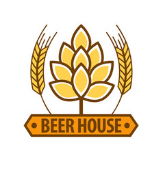 beer house drink label flat design art pattern vector image