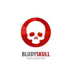 Bloody skull logo for business company simple vector