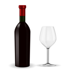bottle of red wine with empty glass vector image