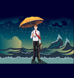 businessman in a storm vector image