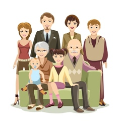 Cartooned Big Happy Family at the Sofa vector