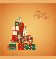 christmas greeting card with gift boxes in vintage vector image