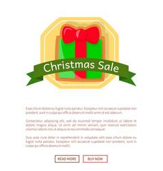 christmas sale card gift box on web poster vector image