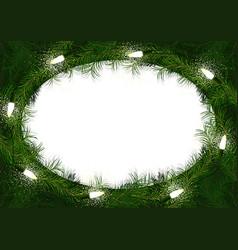 christmas wreath with glowing christmas lights vector image
