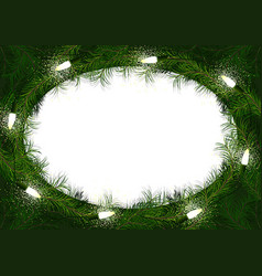 christmas wreath with glowing lights vector image