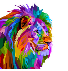 colorful lion head on pop art style isolated on vector image