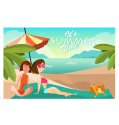 Couple girls on a beach cartoon vector