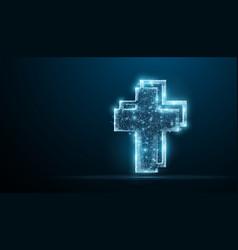 cross polygonal wireframe jesus christ vector image