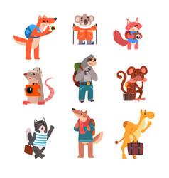Cute animals traveling set wild animals cartoon vector