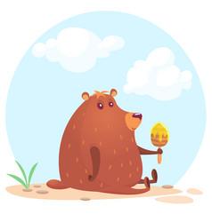 cute cartoon brown bear vector image