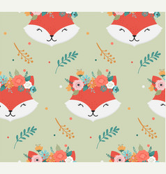 cute foxes heads with flower crown vector image